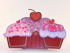 Red Purple Pink Wood Cupcakes Valentines Day Desk Table Decoration Gift