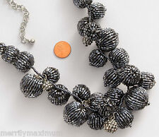 Chico's Signed Silver Tone Necklace Long Black Gray Ball Beads Blue Hues NWT