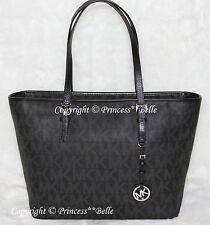 NWT! MICHAEL KORS Jet Set Travel Top Zip Tote Shoulder Bag Purse Black