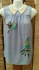 MONSOON BNWT Sleeveless Collared Sequined Front Pale Blue Blouse Size 8 RRP £39