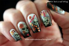 Water Transfer Nail Art Sticker Nagel Tattoo Aufkleber Schädel Halloween Blume