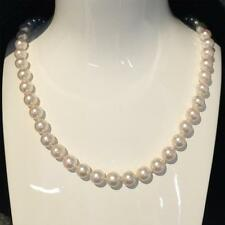 Certificate Japanese Akoya Cultured Pearl Necklace Solid 9k White Gold 7.5-8mm