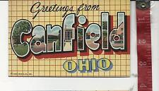 vintage Linen Large Letter Greetings from Canfield Ohio FREE SHIPPING