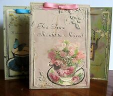 8 large tent cards table decoration for tea party favors with quotes and ribbon