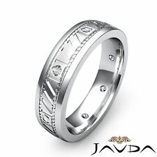 Bezel Round Diamond Men Solid Ring Eternity Wedding Grooved Band Platinum 0.15Ct