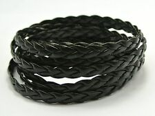 32.8 Feet Black Flat Braided Bolo Synthetic Leather String Jewelry Cord 5X1mm