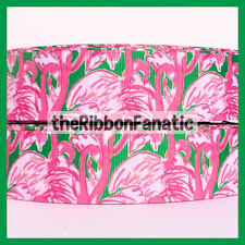 """3 yds 1.5"""" Lilly Fabric Inspired Pink Colony Flamingo Green Grosgrain Ribbon"""