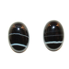 Black and White Agate 10x14mm with 4.5mm dome Cabochons Set of 2 (11760)