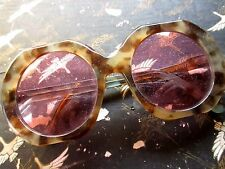 Womens Cheetah Tortoise Rose Tint  MASSIVE BUGGY Vtg Disco Eyeglasses Frames