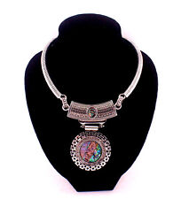 New Vintage Style Abalone Shell Round Pendant Silver Statement Choker Necklace