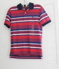 Ralph Lauren Boys Striped Short Sleeve Polo Shirt Red Multi Sz M (10-12) - NWT
