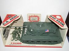 "14"" Vintage 1970's Processed Plastic M60 Army Tank in ORIGINAL BOX 7520 Soldiers"
