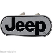 """Jeep Classic Logo Oval Brushed Metal Hitch Plug Cover Fits 1 1/4"""" & 2"""" Receivers"""