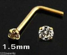 Tiny 1.5mm Diamonte CZ Solid 9k Gold L Nose stud/ring+10 FREE nose pins w/BIN!