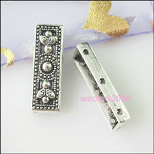 6 New Silver Tone Charms 3-Hole Spacer Bar Beads for DIY Crafts 9x26mm