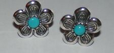 Carolyn Pollack Sleeping Beauty Turquoise Flower Earrings