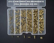 275 SORTIMENT MESSING NIETEN HALBRUNDNIETEN 2+3+4+5+6MM VOLL MESSING DIN 660+BOX