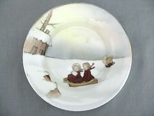 A Royal Bayreuth 19th Century transfer print Child's Plate Snow Babies Christmas