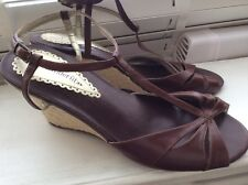 Ladies Shoes Marks&Spencers brown leather Rope wedges UK6.5/7Wider Fit NearlyNew