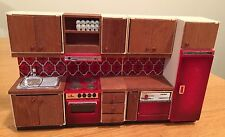 VINTAGE LUNDBY 4 PIECE RED TILE KITCHEN!!  COMPLETE!!!