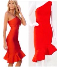 Bandage Red One Shoulder Bodycon Rayon Evening Sexy Hot Cocktail Party Dress