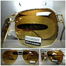Mens Women CLASSIC VINTAGE RETRO Old School AVIATOR Style SUN GLASSES Gold Frame