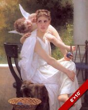BEAUTIFUL GIRL YOUNG WOMAN IN LOVE CUPID FLIRTING PAINTING ART REAL CANVAS PRINT