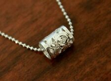 Hawaiian 925 Sterling Silver SCROLL CUT OUT BARREL Pendant Necklace # SP34601