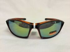 XLoop 2446 Sports Mirror Sunglasses Black Orange Wrap Style Yellow Mirror Lense