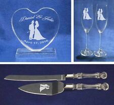 Crystal fireman Wedding Cake Topper glasses knife Engraved FREE firefighter