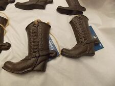 Lot of 6 Large Cast  Metal Western Boots Christmas Tree Ornaments