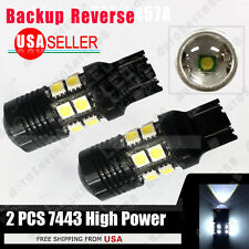2 X HID White 7443/7440  High Power 7W Projection Reverse Backup LED Lights 12V