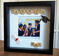 HANDMADE PERSONALISED SCRABBLE TILES/ART PHOTOFRAME *GRADUATION DAY*