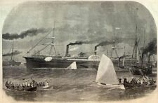 USS Steamship Constitution Leaving Boston Long Wharf Pacific Mail Company 1861 *