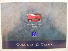 Peugeot Colours & Trims brochure 1993 - 106,205,309,405,605 - see text for list