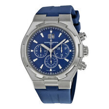 Vacheron Constantin Overseas Chronograph Blue Dial Blue Leather Mens Watch