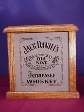 Jack Daniel's Whiskey Light Box With Etched Glass Front Panel And Solid Oak Wood