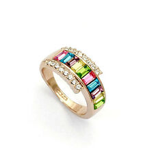18K ROSE GOLD PLATED MULTI-COLOURED GENUINE CUBIC ZIRCONIA RING