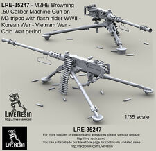 Live Resin 1/35 WWII M2HB .50 Calibre Machine Gun on M3 Tripod with Flash Hider