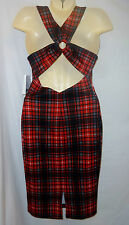NWT XOXO M Red Plaid Stretch Dress X Back Retro 90's look Wiggle Tattoo Pin up