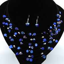 Beaded Multi Strand Necklace and Drop/Dangle Earring Set-Blue PS