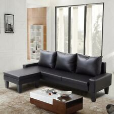 Reversible Corner Sectional Sofa Chaise Couch Leather Loveseat Lounge Suite