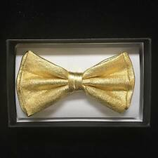New 2015 Gold Metallic Canvas Tuxedo Classic BowTie Neckwear Unisex Bow Tie