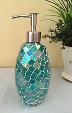 Glass Mosaic Teal Green, Mother Of Pearl Liquid Soap Kitchen/ Bathroom Dispenser