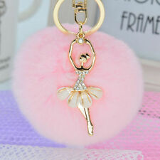Charm Genuine Rabbit Fur Pearl Ball PomPom Car Keychain Handbag Key Ring Pink