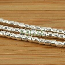 "HIZE SB127 Thai Karen Hill Tribe Silver Egg Seed Spacer Tube Beads 2.75mm (14"")"