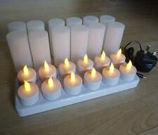 12 LED Flickering Rechargeable Tea Lights/Candle set, Wax-less, Flameless