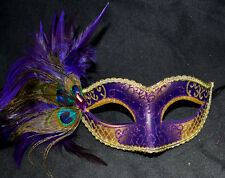 Purple/Gold Women Party Mask Masquerade Mask with Gems & Peacock Feathers