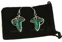 LOTR Lord Of The Rings Hobbit Aragon Frodo Elven Leaf Brooch Earrings + Gift Bag