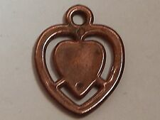VINTAGE HEART IN HEART GUMBALL CHARM VENDING COPPER CLAD VALENTINES